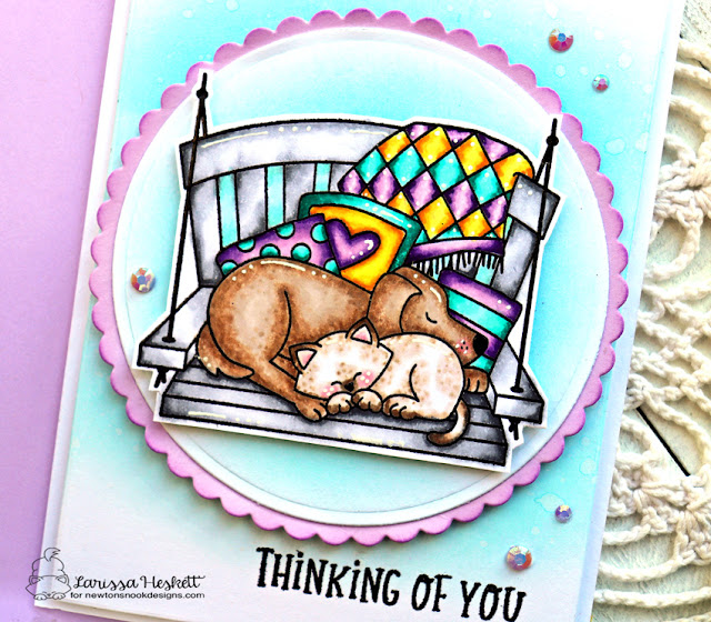Thinking of You Card by Larissa Heskett | Porch Swing Friends and Floral Roundabout Stamp Sets and Circle Frames Die Set by Newton's Nook Designs #newtonsnook #handmade