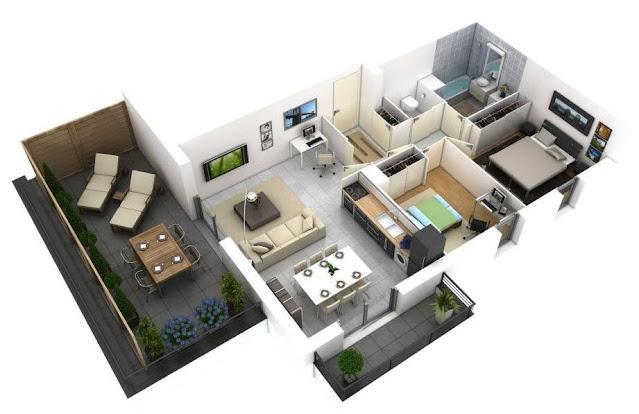 Denah Rumah 1 Lantai Ukuran 6 x 12