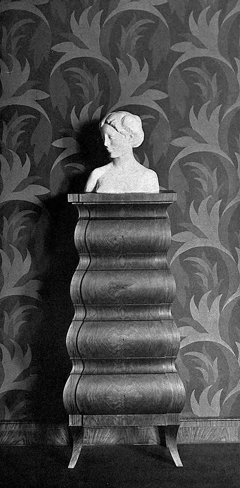 Bruno Paul design, cabinet wallpaper bust