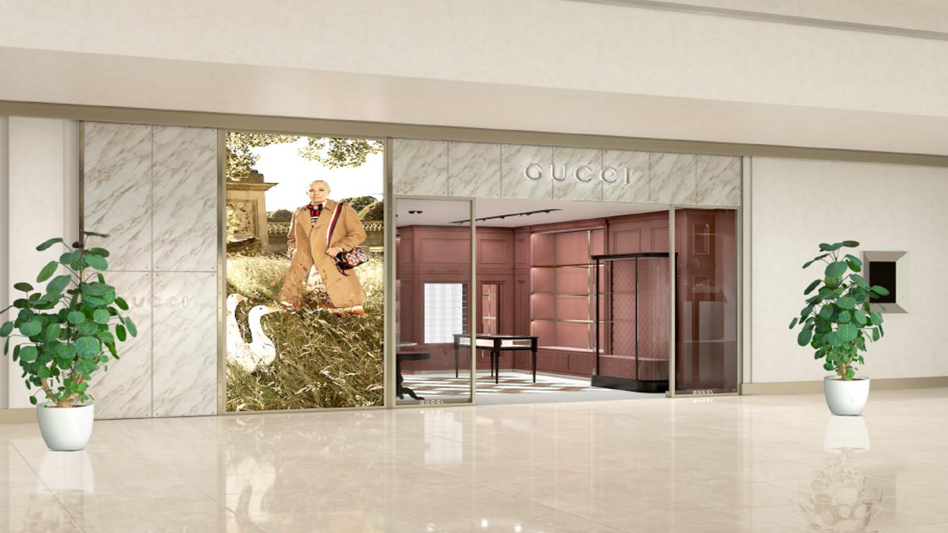 fe315d56d Fazendo um paralelo com o caráter eclético das novas coleções Gucci, a loja  combina tradição e modernidade, industrial e romântico.