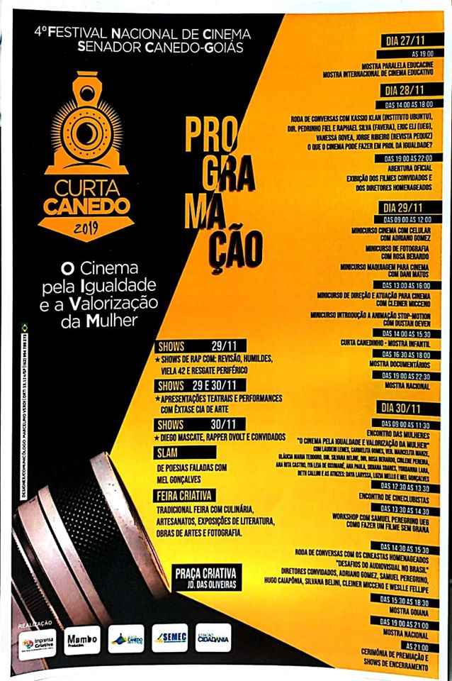 Festival de Cinema Curta Canedo tem programação extensa e oficinas técnicas