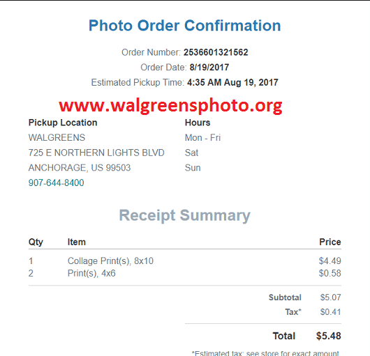 Walgreens Photo order confirmation email