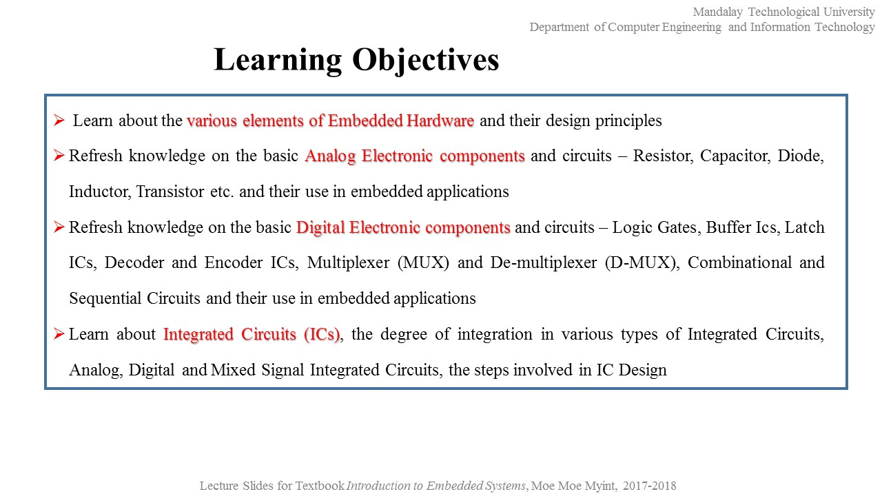 Dr Moe Myint Embedded System Ii 3rd Portion Chapter 8 Integrated Circuit Ic Basic Tutorial Hardware Design And Development
