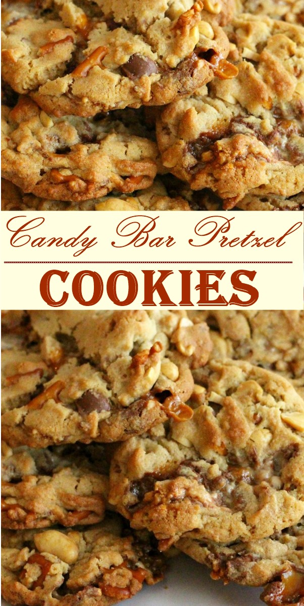 Candy Bar Pretzel Cookies #cookiesrecipes