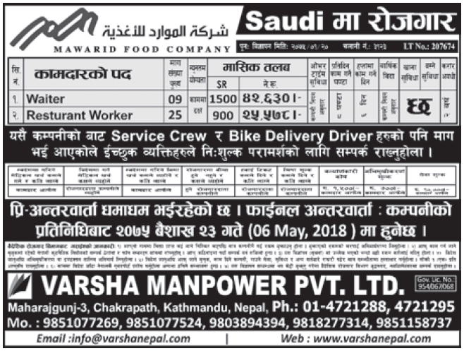 Jobs in Saudi Arabia for Nepali, Salary Rs 42,630
