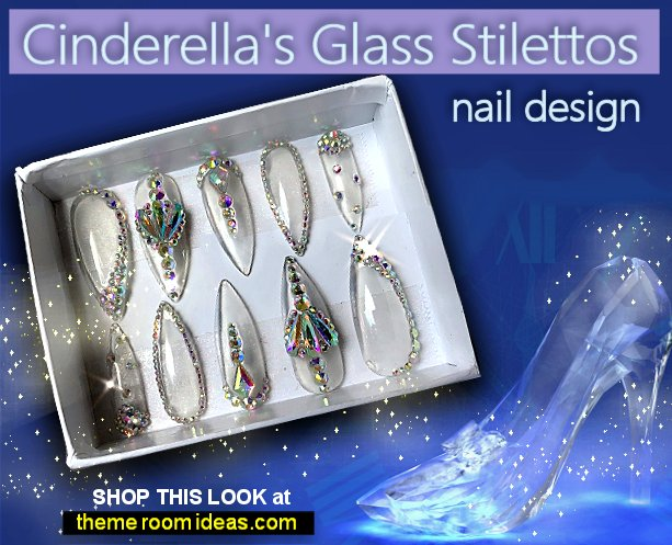 Cinderellas Glass Stilettos nail design glass slipper nails Cinderella Glass Stilettos nail art disney princess