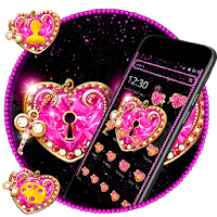 Pink Heart Shiny Diamond theme  Apk free Download for Android