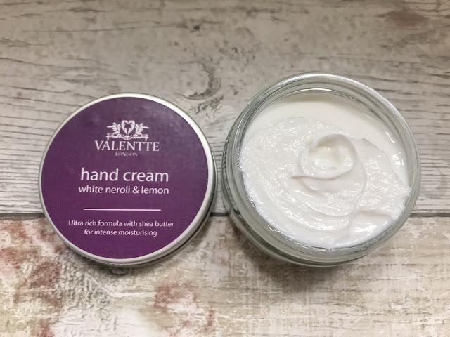 Valentte hand cream jar with lid off
