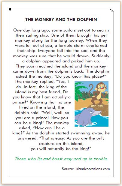dongeng bahasa inggris kera dan lumba-lumba