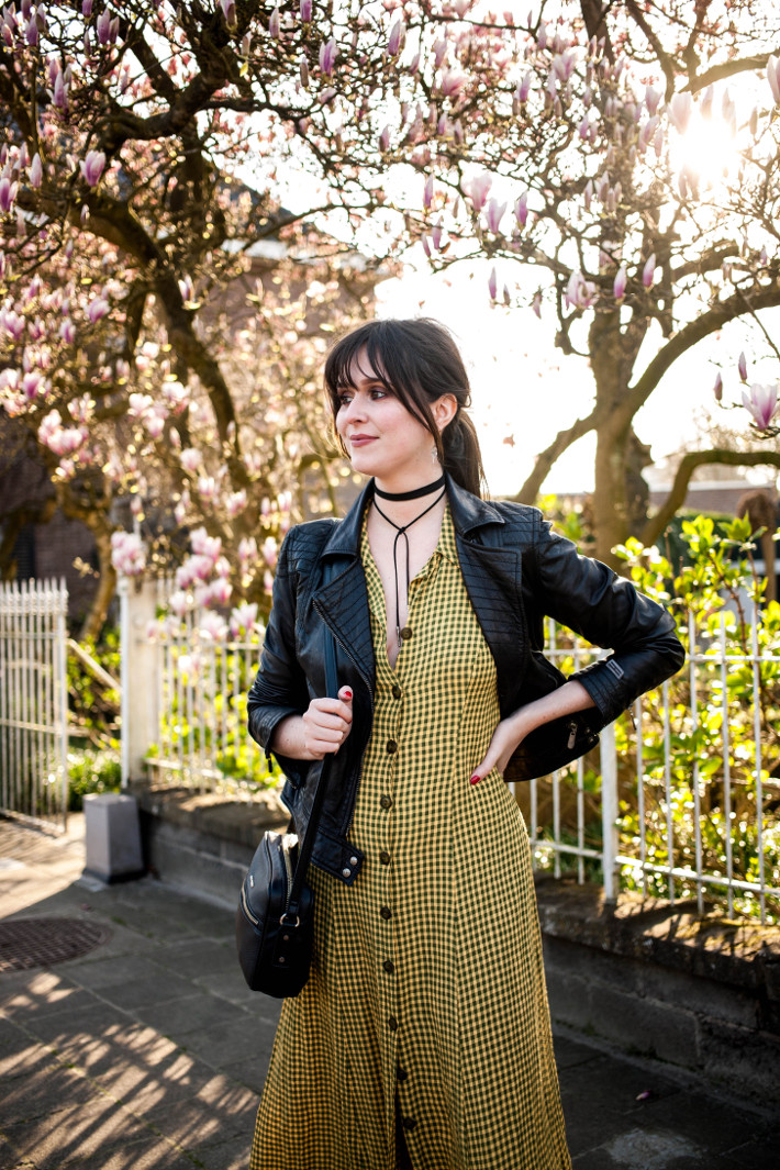 Outfit: vintage button through dress, leather mules and moto jacket