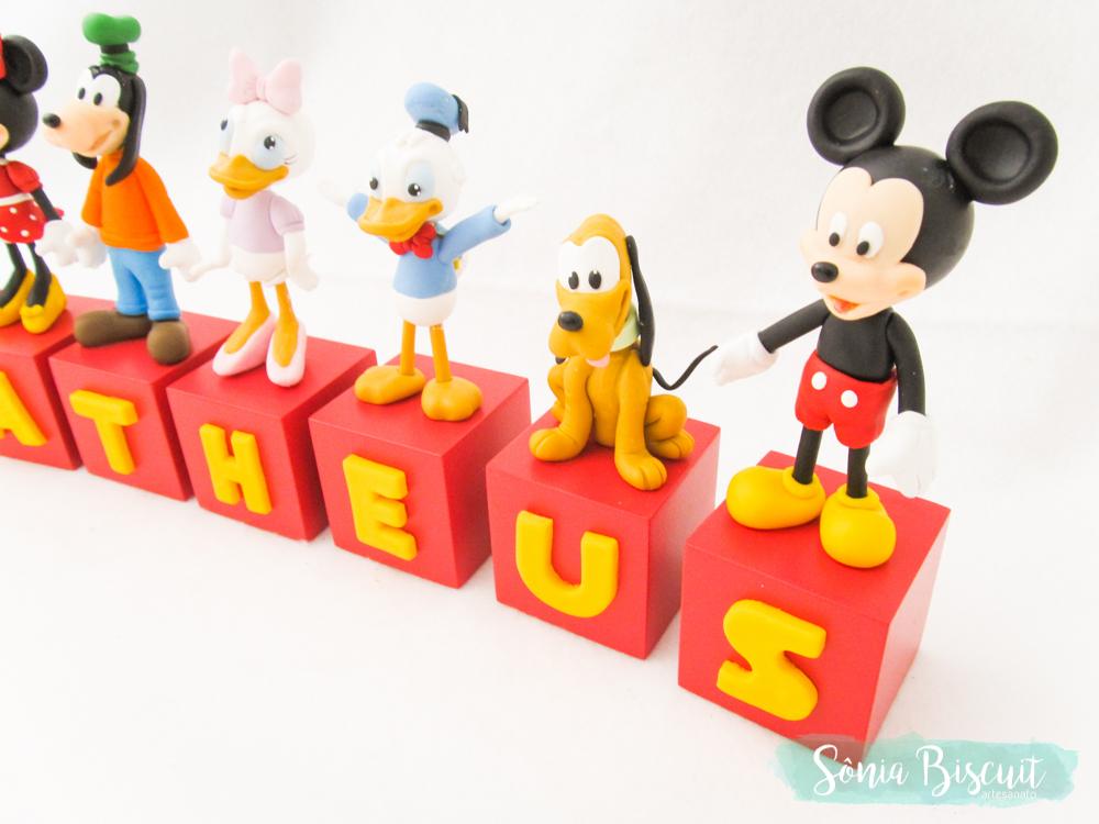 Cubos, Cubos Decorativos, Biscuit, Aniversário, Mickey, Minnie, Donald, Pateta, Margarida, Pluto