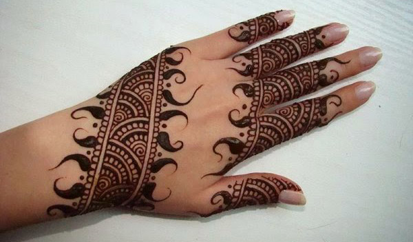 Simple Mehndi Design for fingers and bacckhands