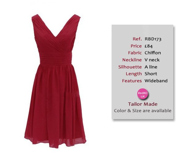Chiffon V-neck Wideband Short Bridesmaid Dress