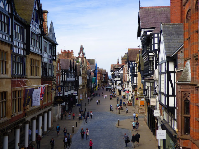 Looking over Chester High Street from the city walls