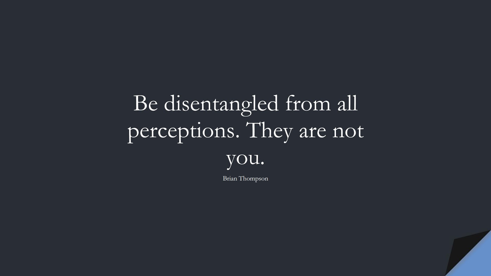 Be disentangled from all perceptions. They are not you. (Brian Thompson);  #StoicQuotes