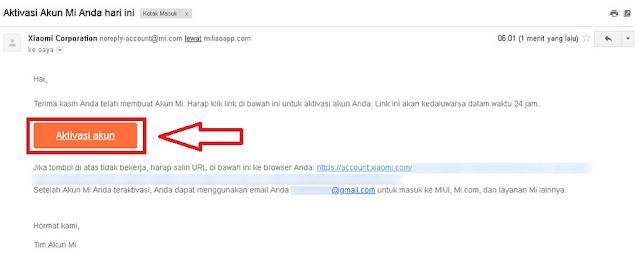 Aktivasi Akun Mi dari Email