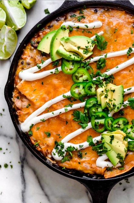 CHEESY ROTISSERIE CHICKEN ENCHILADA SKILLET