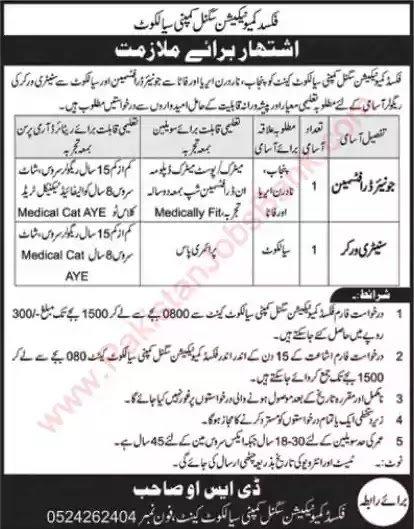 Fixed Communication Signal Company Sialkot Jobs 2021