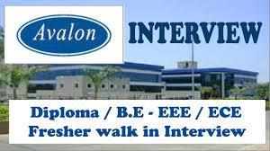Diploma Freshers Candidates Job Vacancy Walk-in Interview For Avalon Technologies and service Pvt Ltd Bengaluru, Karnataka