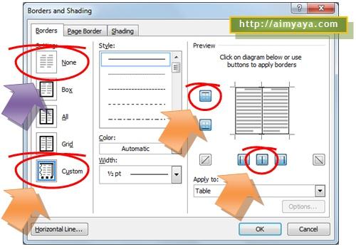 Merubah Garis Tabel Klik Tombol OK Untuk Meminta Microsoft Word