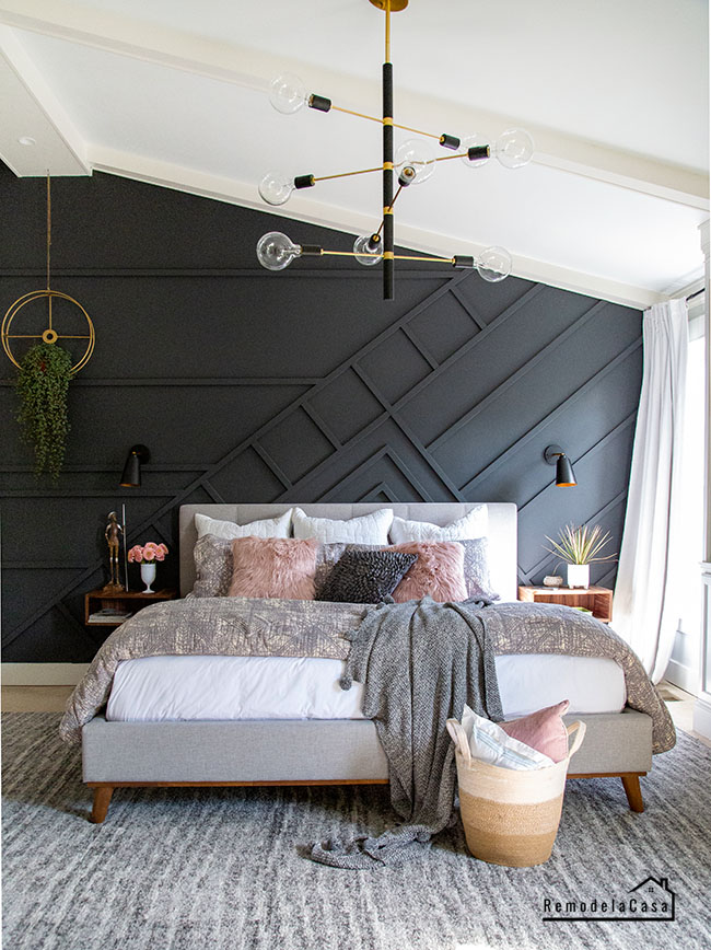grey and pink modern bedroom decor