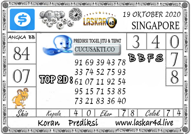 Prediksi Togel SINGAPORE LASKAR4D 19 OKTOBER 2020