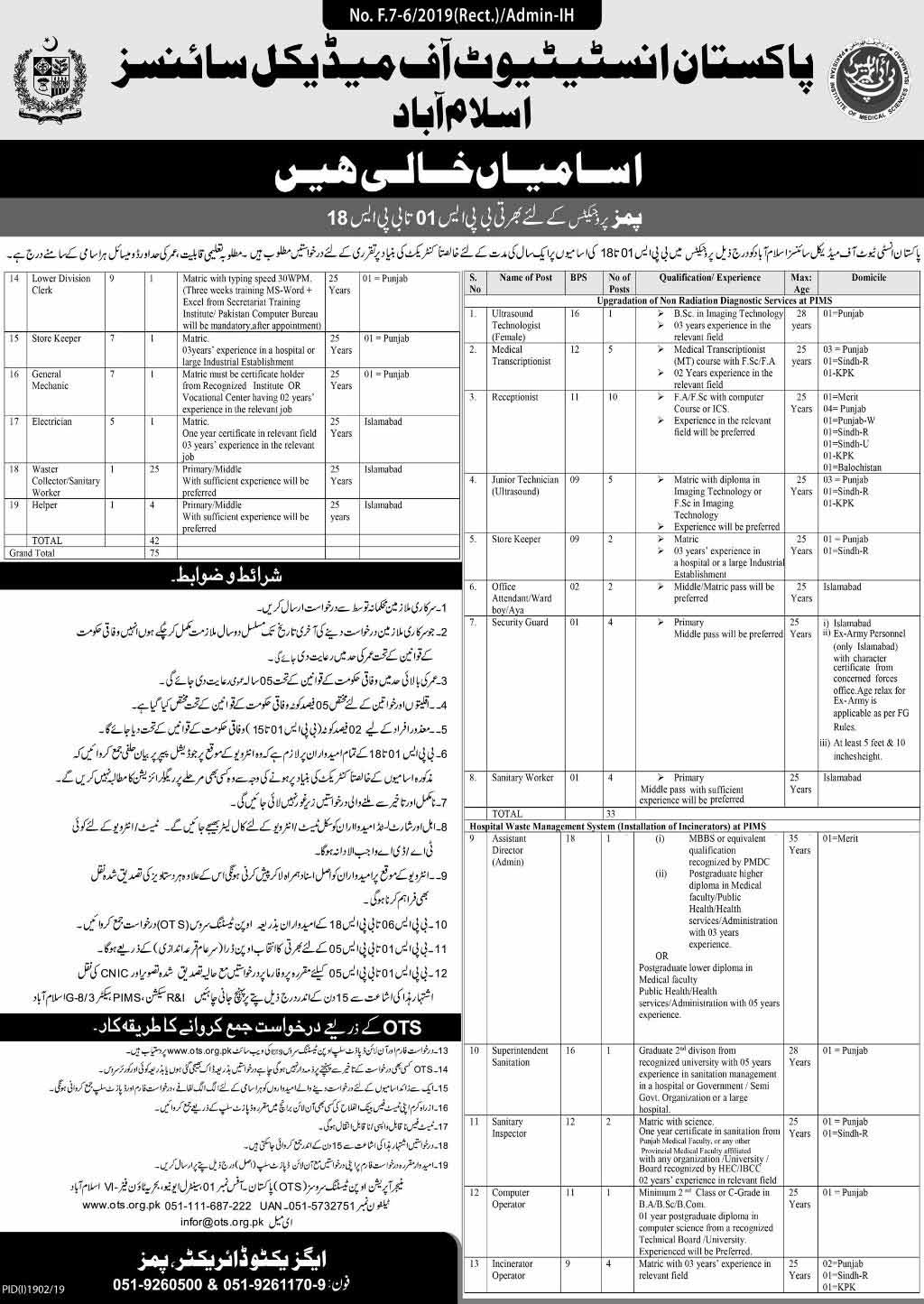 Pakistan Institute of Medical Sciences Islamabad OTS Jobs 2019