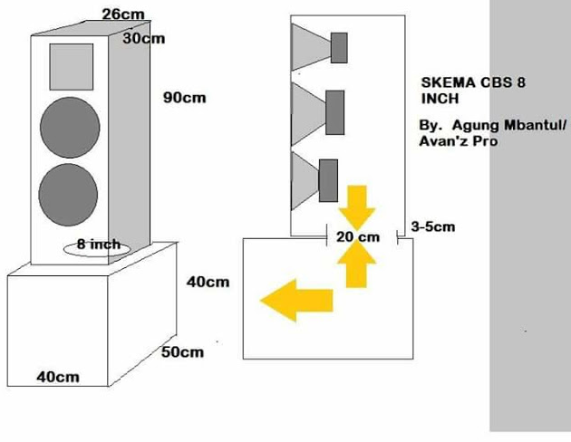 Skema box speaker 8 inch