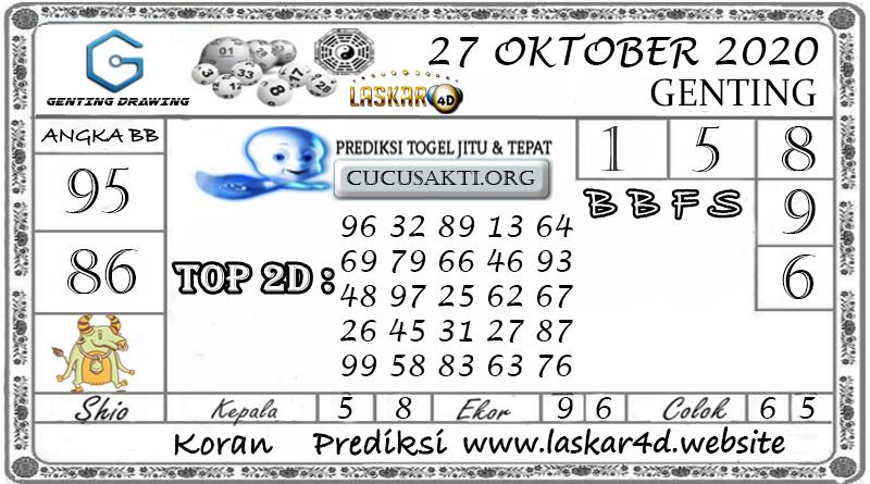 Prediksi Togel GENTING DRAWING LASKAR4D 27 OKTOBER 2020