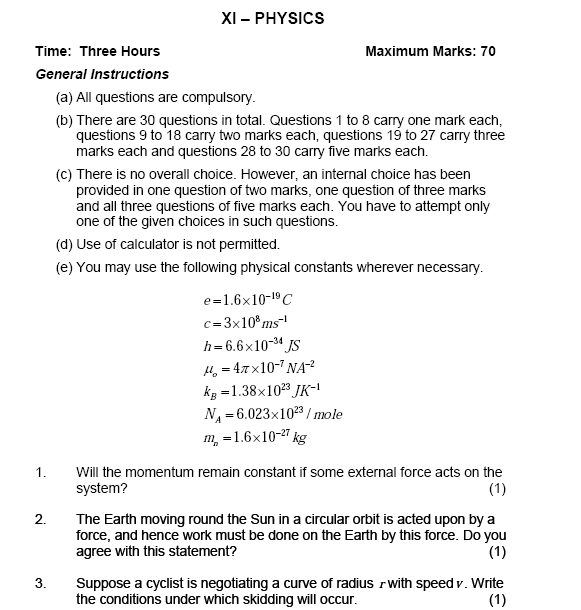 Sample paper for  physics class 11