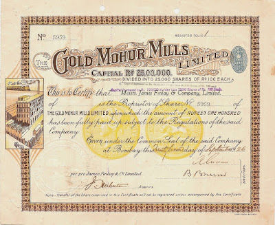 1926 share certificate from The Gold Mohur Mills, Bombay