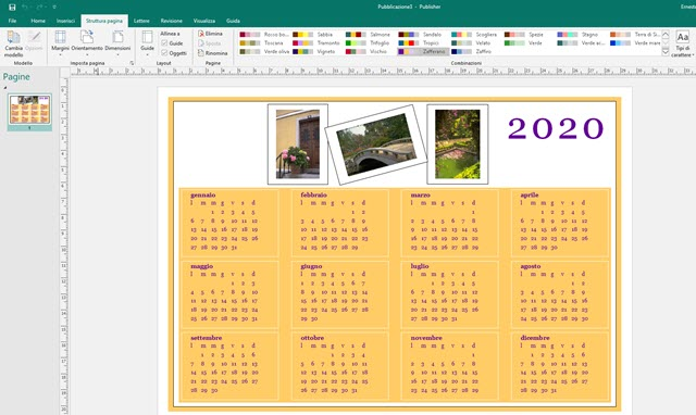 calendario annuale con publisher