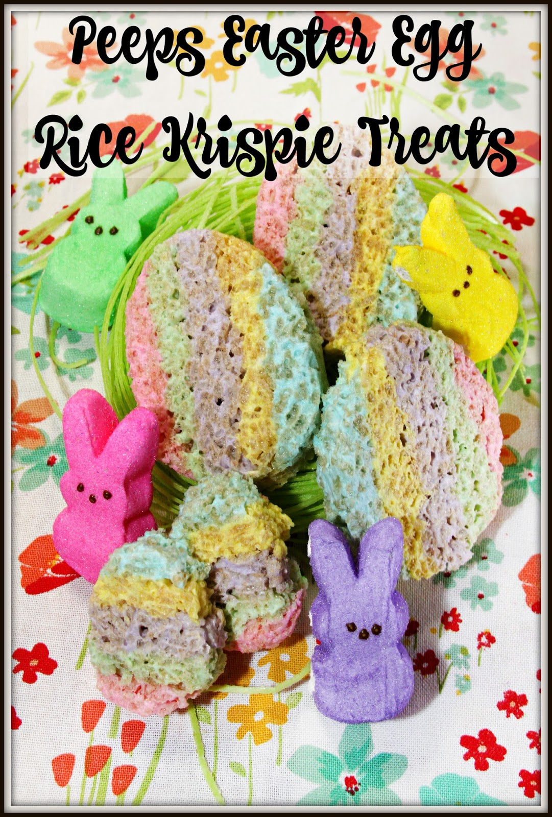 These Peeps Easter Egg Rice Krispie Treats are made with multi colored ...