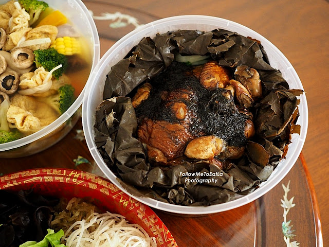 Steamed Kampung Chicken with Dried Oysters & Fatt Choy With Oolong Tea