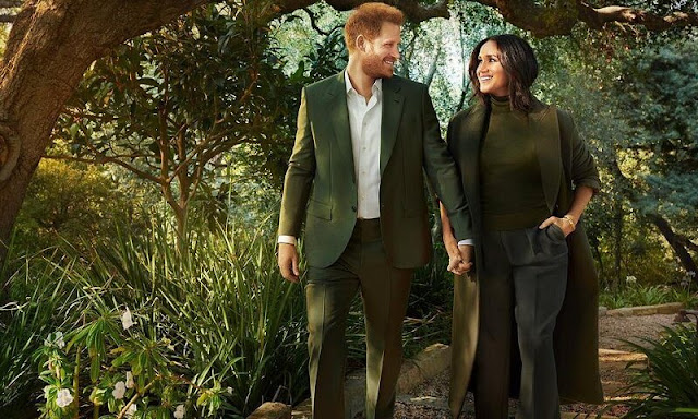 Meghan Markle wore pleated wool wide leg trousers by Victoria Beckham, Armani. Duet Pinky Ring. Row Demme cashmere sweater