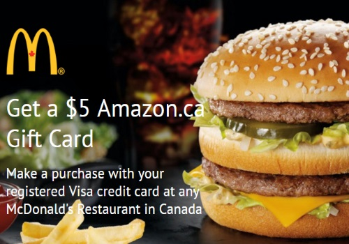 Mcdonalds Free $5 Amazon Gift Card with Visa Credit Card Signup