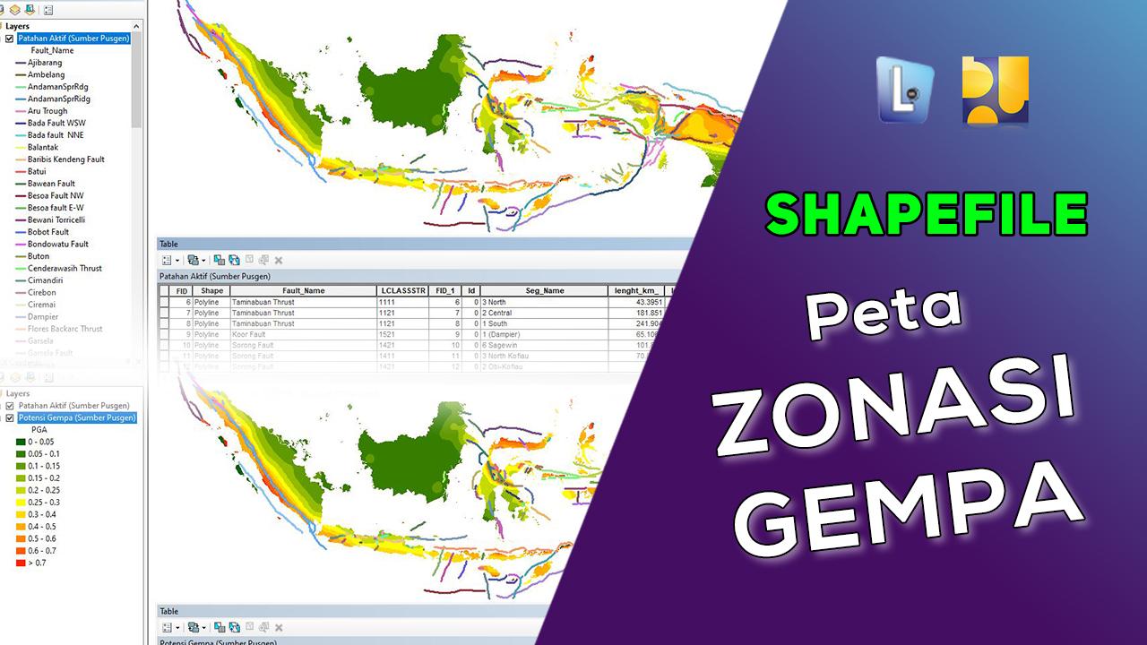 Shapefile (SHP) Peta Zonasi Gempa Seluruh Indonesia