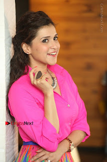 Actress Mannar Chopra in Pink Top and Blue Skirt at Rogue movie Interview  0157.JPG