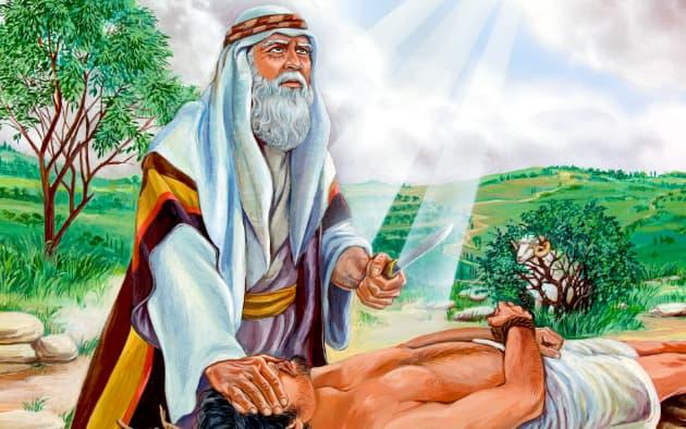 A imagem mostra uma representação de Isaque deitado no altar, enquanto Abraão tapa seus olhos com uma mão e na outra segura uma faca, com a qual faria o sacrifício.