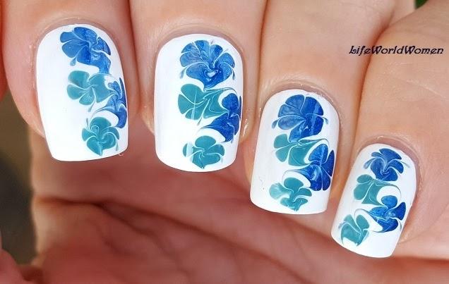 Life World Women Blue White Easy Dry Marble Needle Nail Art