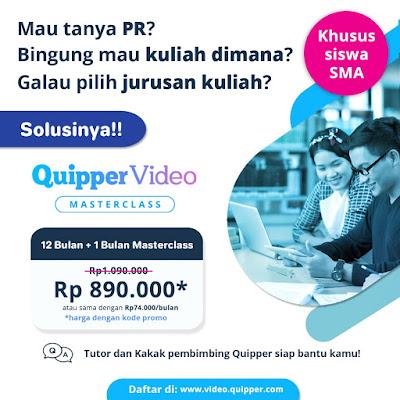 Biaya Masterclass Quipper Video Cuma 330 Ribu Per Bulan
