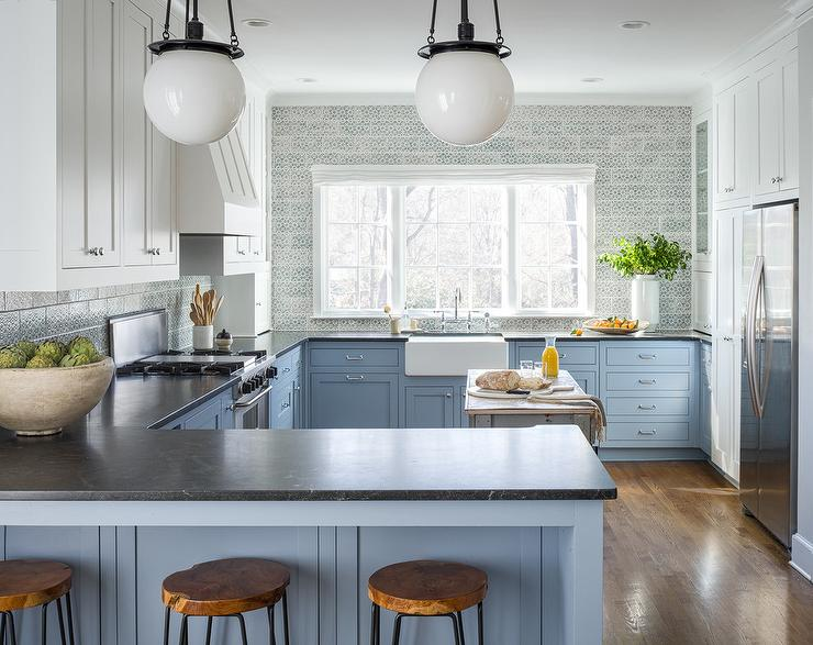 two-tone blue and white kitchen