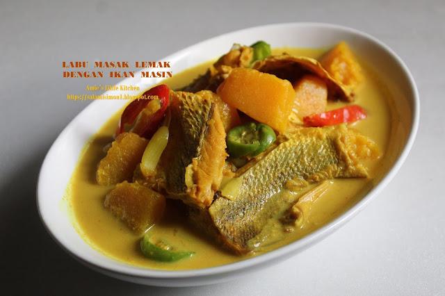 Resipi Labu Manis Masak Lemak dengan Ikan Masin
