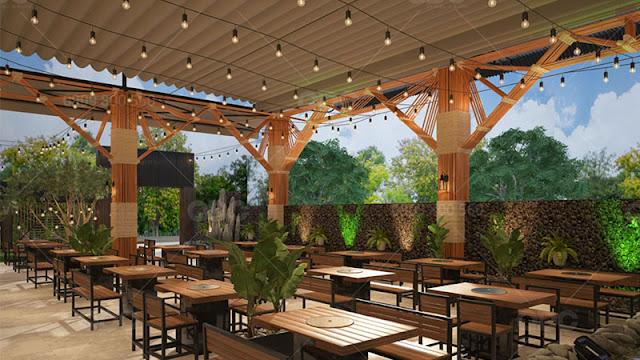 Khu vực thưởng thức món ăn của thực khách ở nhà hàng Khói