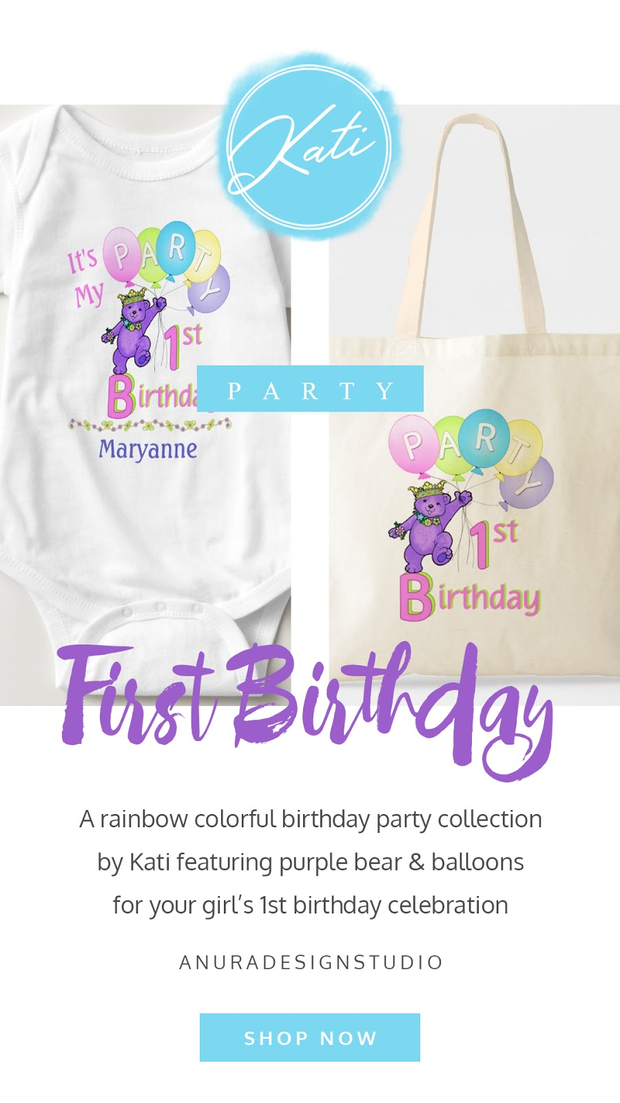 Purple bear and balloons first birthday party collection. Featuring personalized baby apparel, cards, bags, gifts, and party decor. In a confetti pink, sweetness yellow, cotton candy blue, and playful purple color palette.