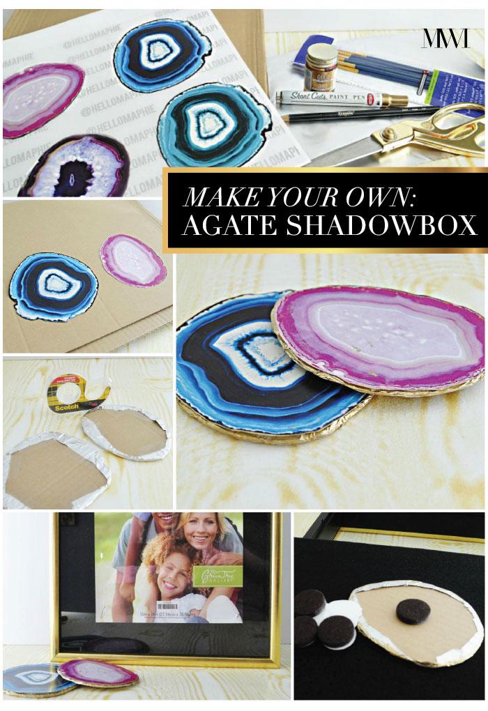 DIY agate shadowbox artwork art cheap