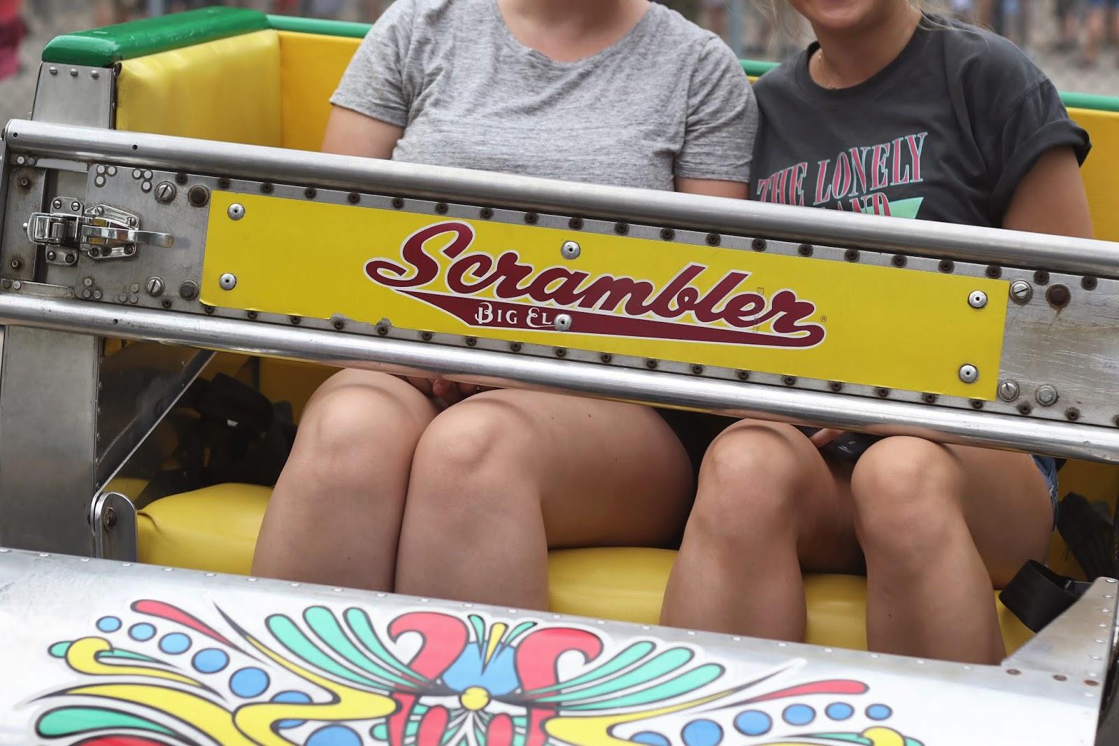 travel blog, The Scrambler, Scrambler carnival ride, Wisconsin summer fun, explore Wisconsin, Zippin Pippin', wood roller coaster, cotton candy, theme park