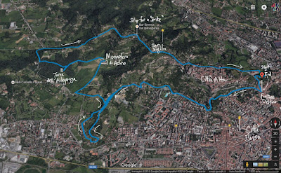 A summary of the walk beginning and ending at Piazzetta del Delfino