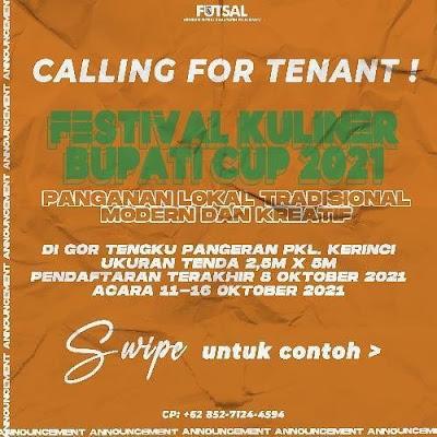 acara Kejuaraan Daerah futsal U-18 yang bertajuk BUPATI CUP,kami juga mengadakan festival kuliner