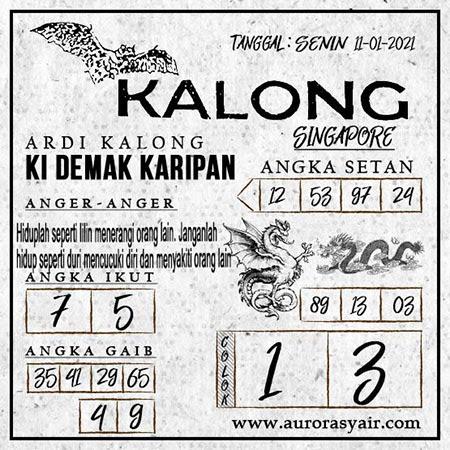 Syair Kalong SGP Senin 11-01-2021